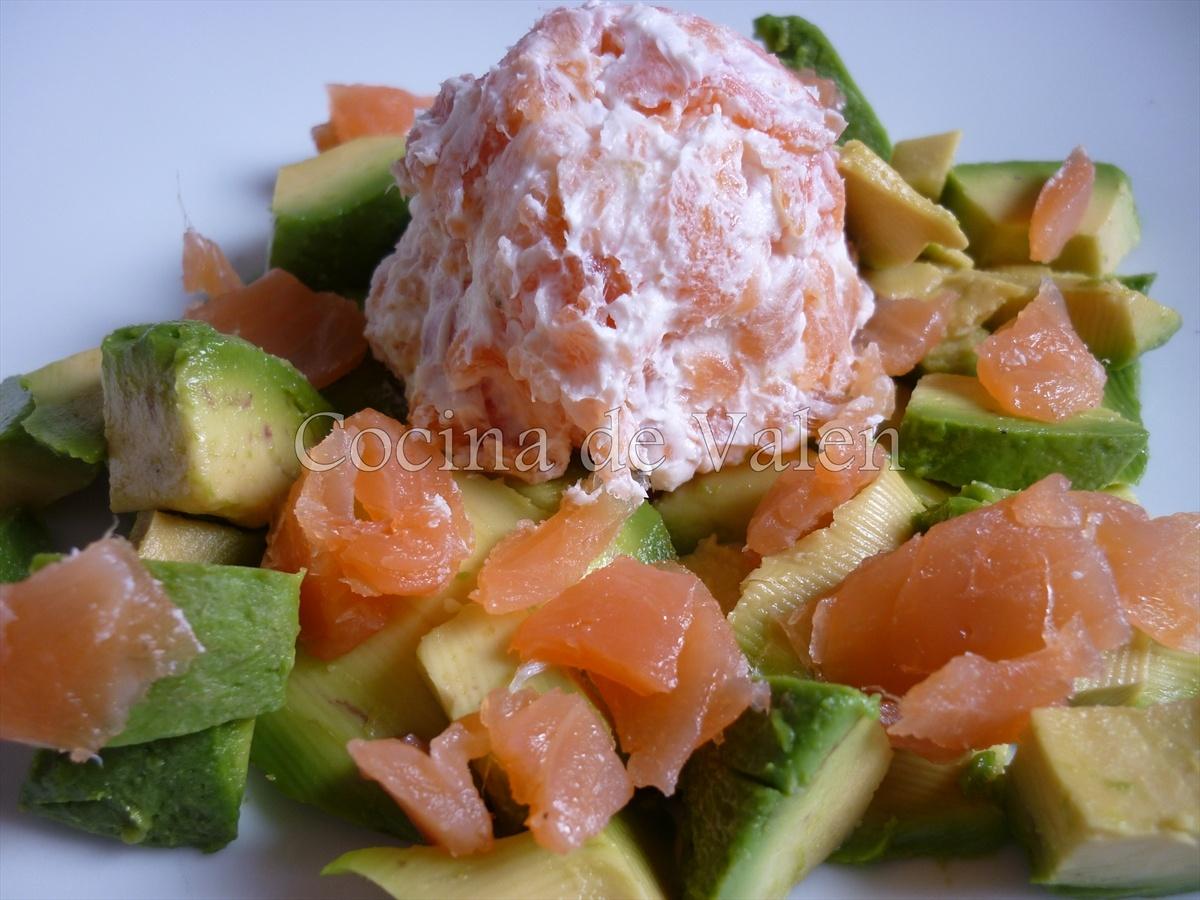 Ensalada de aguacate salm n ahumado y queso crema - Ensalada de aguacate y salmon ahumado ...